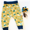 """Organic cotton """"Bug"""" baby pants in Mustard and Navy"""